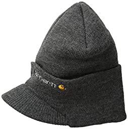 Carhartt Men\'s Knit Hat With Visor,Coal Heather,One Size