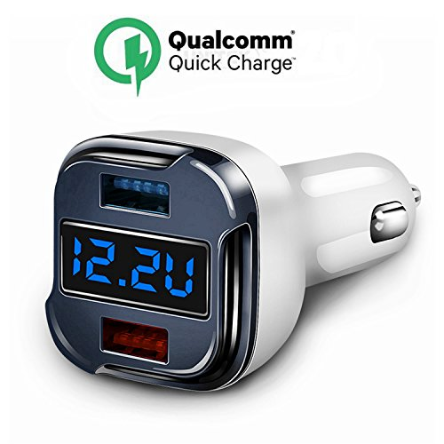 Quick Charge Car Charger, 24W 5A Fast Dual USB Charger Adapter With Voltage Meter Monitor Ammeter Current Tester for IPhone X,8,7,7 Plus,6 Plus,Ipad Nexus LG HTC SONY Samsung Galaxy S6 S7 S8 Edge