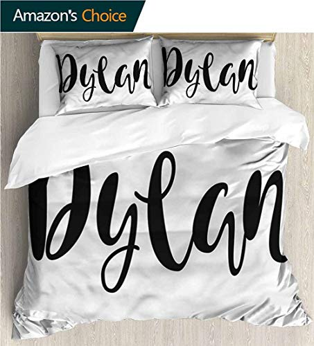VROSELV-HOME 3 Pcs King Size Comforter Set,Box Stitched,Soft,Breathable,Hypoallergenic,Fade Resistant with 2 Pillowcase for Kids Bedding-Dylan Stylized Font Design (80