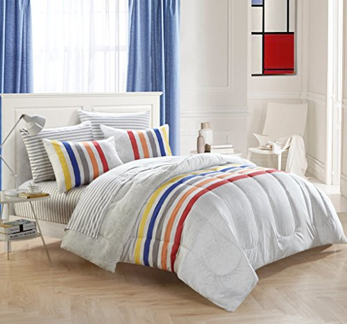 Trendy,Elegant and Soft Mainstays Blair Bed In A Bag Bedding Set,(Comforter,Sham,Printed Sheet Set,Decorative Pillow),Great Way to Update Any Room,White/Multicolor,Queen
