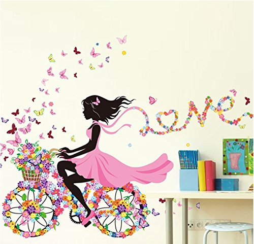 1 Pack Colorful Butterflies Bicycle Girl Wall Stickers DIY Vinyl Mural Art Kids Kindergarten Living Room Bedroom Girls Nursery Defectless Popular Dream World Moon Star Ocean Sun Flower Home Decor