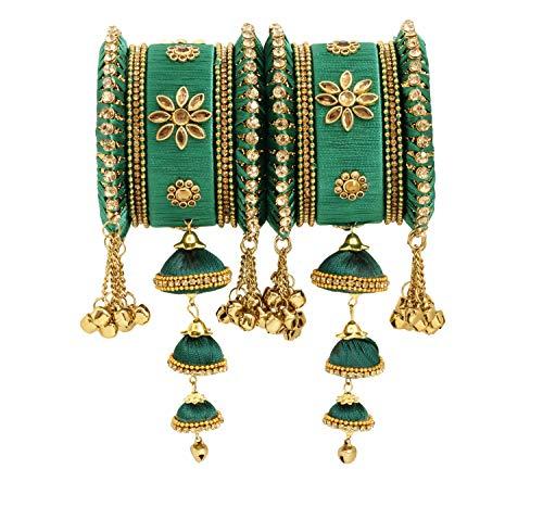 - Vishal-Vatika Indian Fashionable Silk Thread Party Wear Bangle for Women Bracelet/Kada Set (Green, 2.6)