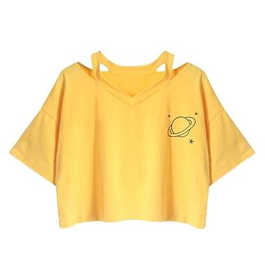 Camisetas Mujer Corto Elegante Crop Top Tumblr Manga Corta V Cuello Moda Estrella Planeta Print Casual Ropa Fiesta Modernas Verano T Shirt Negro: Amazon.es: ...