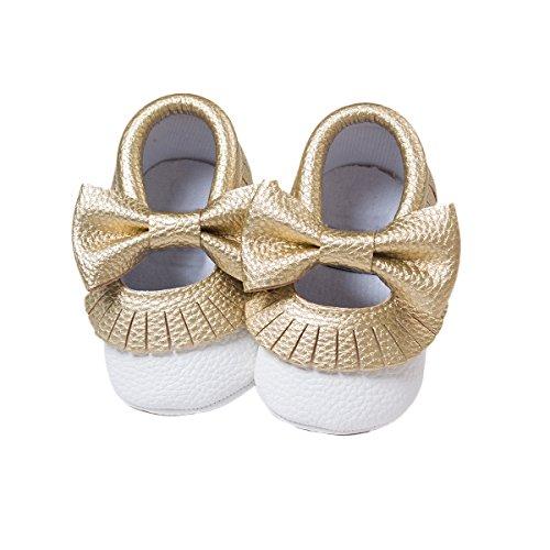 R&V Unisex Infant Baby Boys Girls' Premium PU Soft Sole Bow Prewalker Toddler Shoes 12Colors (12cm (6-12months), Golden-White) ()