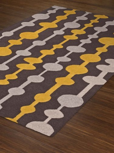 Gray Rug Modern Contemporary Yellow Lines 5x76quot 5x8