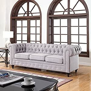 Classic Linen Fabric Scroll Arm Tufted Button
