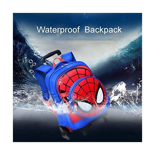 MODRYER per Bambini Zaino Spiderman Scuola elementare Impermeabile Zaino Trolley Studenti Piede Alto 6 Ruote Daypack Mud… 3 spesavip