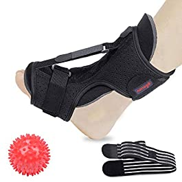 Plantar Fasciitis Night Splint Foot Drop Orthotic Brace, Adjustable Elastic Dorsal Night Splint for Plantar Fasciitis, Orthotic Brace Sleep Support Pain Relief from Tendonitis, Heel, Arch (Red)