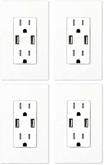 4 Packs of 2-Pack Feit Electric Wall Outlets with 2 USB Ports New In Box