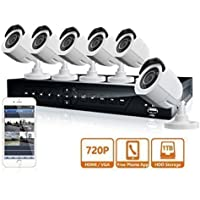 LaView 8 Channel 720P HD DVR Security System with 1TB Surveillance HDD and 6 x 720P Day/Night Bullet Cameras (White) LV-KDT0806B7W-1TB