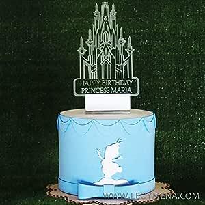 Castillo de Frozen Iluminado Personalizado Adorno para Tarta de Cumpleaños, Frozen Light Up inspired Castle Cake Topper, Birthday Princess