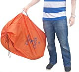 Alnoor-USA-Car-Seat-Travel-Bag-and-Carrier-for-Gate-Check-with-Travel-Pouch-Bright-Orange-with-Blue-Letters-for-Airport-Airplane-Gate-Check-Car-Trips-and-Storage