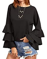 SIMSHION Women's Elegant Trumpet Sleeve Casual Blouse Long Sleeve Tops Shirts Black 2XL