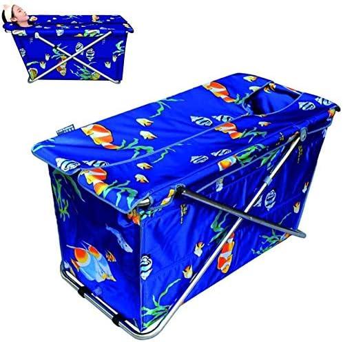 バスタブ折りたたみバケツ入浴家庭用非膨張モバイルバースバレルを浸漬ポータブルバスタブ自立 (Color : Blue)