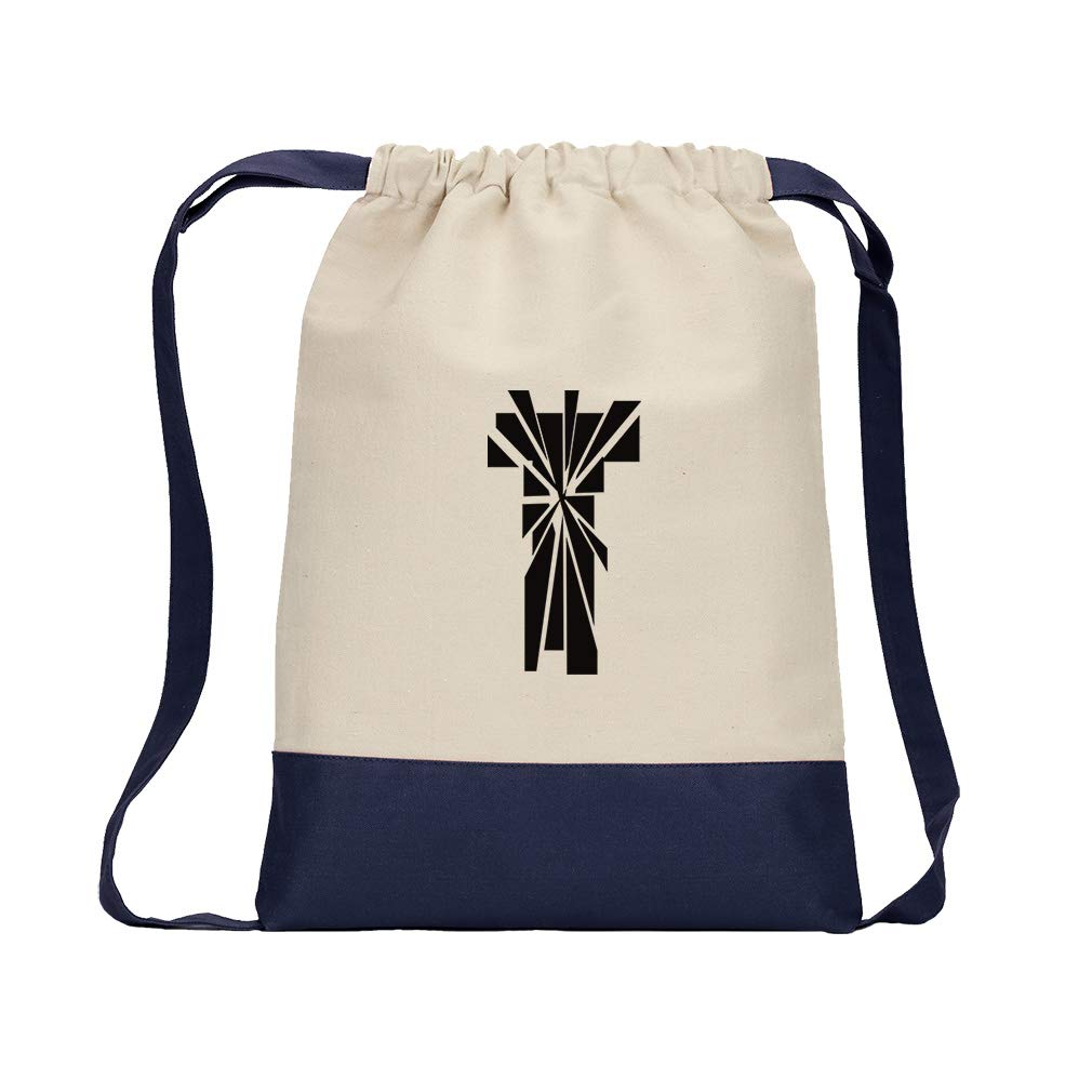''T'' Glass Initial Monogram Letter T Cotton Canvas Color Drawstring Bag Backpack - Navy