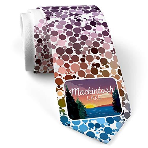 Neck Tie with Lake retro design Lake Mackintosh White with Color - Mackintosh Tie
