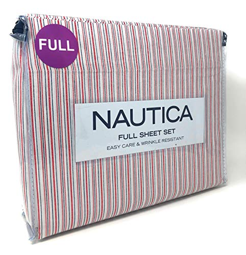 Nautica Easy Care & Wrinkle Resistant Red/White/Blue Pinstripe Lane, 4 Piece Full Sheet Set