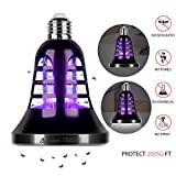 [2019 Upgraded] Bug Zapper Light Bulb - Auledio 2 in 1 Electronic Insect Killer, Mosquito Killer, Fly Killer UV Lamp, 110V E26 Light Bulb Socket Base for Indoor and Outdoor(Black)