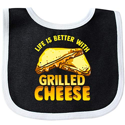 Inktastic - Life is Better with Grilled Cheese Baby Bib Black/White 36338