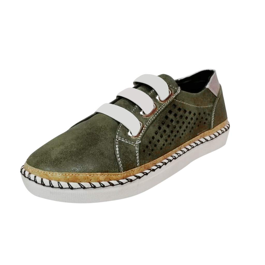 Shusuen Women's Oxfords Platform Brogues Slip on Perforated Shoes Green by Shusuen_shoes