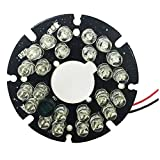 HonYan 2PCS 24 LEDs 5mm 850nm IR Infrared Board Round Plate 90 Degree, IR Board