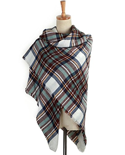 AUSELILY Women`s Stylish Warm Tassels Soft Plaid Tartan Scarf Blanket Wrap Shawl (One size, Blue White)