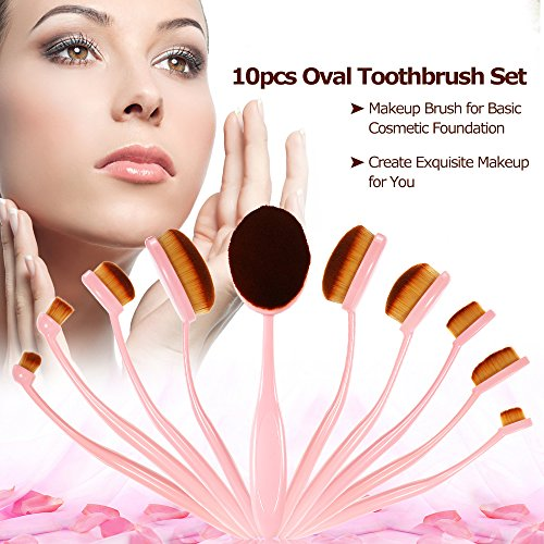 Anself-10pcs-Professional-Oval-Makeup-Brush-Set-Soft-Toothbrush-Foundation-Cream-Powder-Blush-Brush-Kits