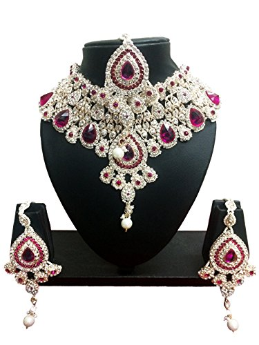CROWN JEWEL Bollywood Designer Indian Wedding Bridal Party Wear Fashion Jewelry Necklace Set (Pink)