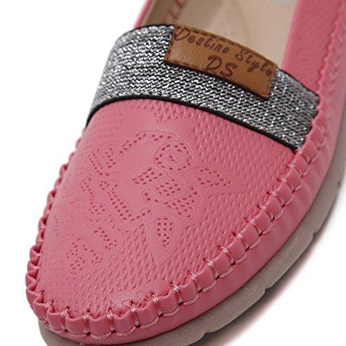 AgooLar Damen kunstleder Ziehen Auf Schließen Zehe Flache Schuhe Rot