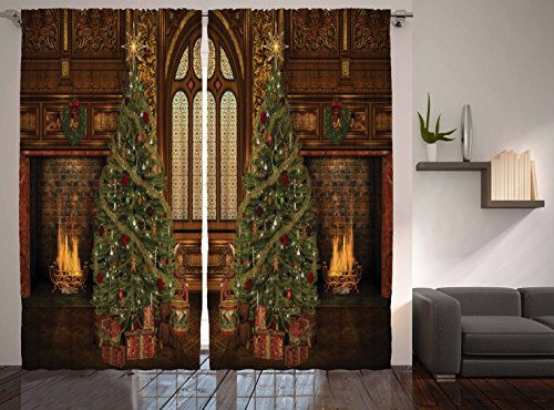 Christmas Holiday Designer's Collection Digital Graphic Print Antique Christmas Tree Window Curtain 2 Panel 108″x84″ – Simple Gift Awaits for you!!! For Sale