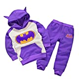 Astage Little Kids' 2pcs Long Sleeve Cartoon Batman Hoodies Sport Clothing