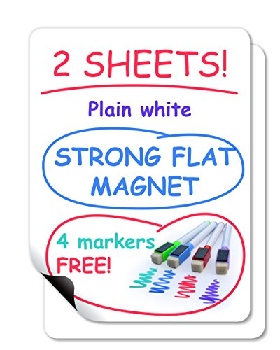 Dry Erase Magnetic Sheet Set for Home, Office or School – Includes: 16 x 12 inch 2 Sheets of Plain White Strong Magnets with Rounded Corners, and 4 Colored Dry Erase Markers
