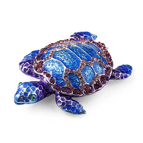 MICG Purple Sea Turtle Collectible Hinged Trinket Box Bejeweled Hand-painted Ring Holder (Turtle Hinged Trinket Box)