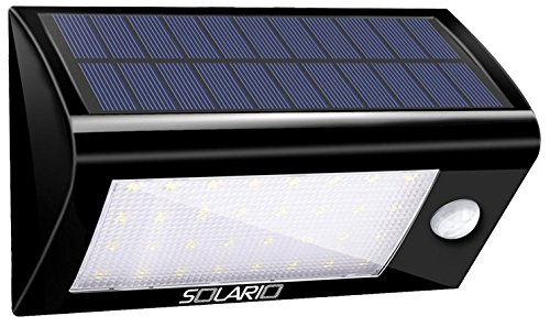 Solar Powered Security Floodlights- Set of 2- Motion Activated Lights- Wireless Outdoor Light- 32 Ultra Bright LEDs- Peel and Stick- Best for Patio, Garden, Path, Pool, Yard, Deck (Black) (2) Two Light Path Fixture