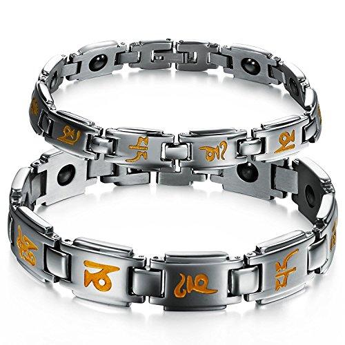 Son ou le Sien Ensemble Correspondant, le Couple Parfait Titane Bracelet Magnétique Simple coréen Style Anti-fatigue, Anti-rayonnement dans une Boîte-Cadeau (Sa)