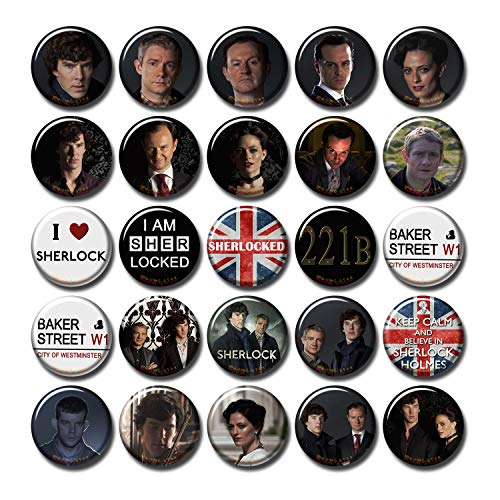 Pentagonwork Sherlock BBC 25 pcs Button Pins Set Pack TV Series 010-P002 Sherlock Holmes Benedict Cumberbatch Moriarty,Party Favors Supplies Gifts Home Decor (Round 1.5 inch|3.7cm)