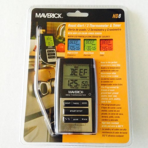 Roast Alert Thermometer - Maverick HD8 Roast Alert 3 Thermometer and Timer / Cook The Perfect Roast