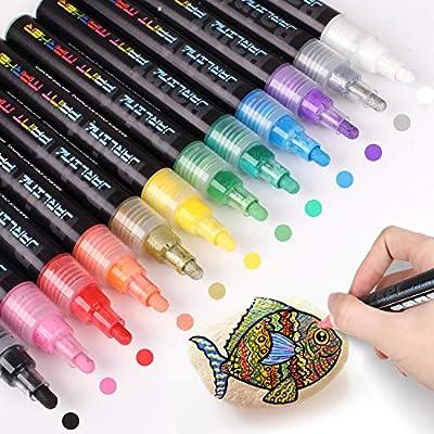 Jarlink Acrylic Paint Markers Set 12 Colors Paint Pens For