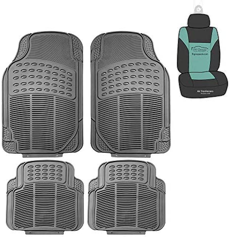 FH Group F11305 Trimmable Rubber Floor Mats (Gray) Full Set – Universal Fit for Cars Trucks and SUVs (Gray)