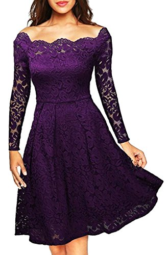 WSPLYSPJY Women's Vintage Off Shoulder Floral Lace Long Sleeve Wedding Cocktail Dress Purple S