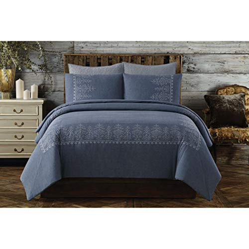 Embroidered Cottage - Cottage Classics Cotton Embroidered Border King Duvet Cover Set, Blue