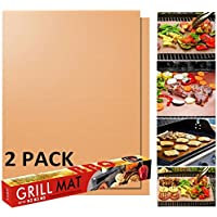 Grill MAT Hoja de Parrilla para Barbacoa de IBO Kitchen Love Juego de 2 Aprobado por FDA, Libre de PFOA , 0.2mm Extra…