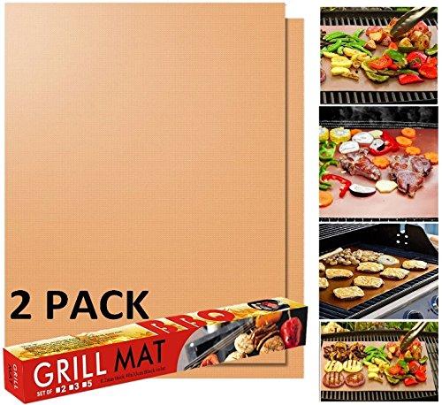 Grill MAT Hoja de Parrilla para Barbacoa de IBO Kitchen Love Juego de 2 Aprobado por FDA, Libre de PFOA , 0.2mm Extra Grueso,...