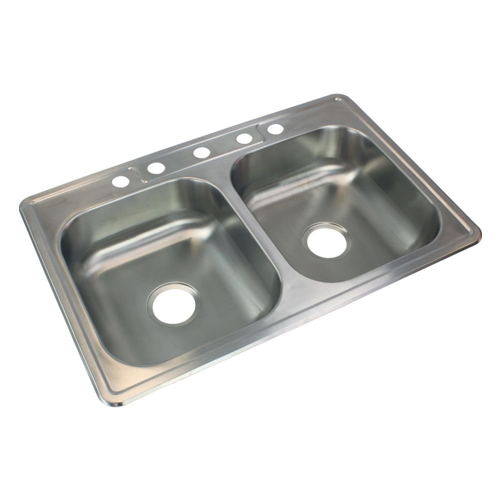 Transolid STDE33226-5 Double Bowl Kitchen Sink, 22 1/64'' x 33'' x 6'', Brushed Stainless Steel