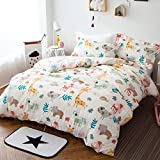 Qbedding Inc. Woodland Animal 100% Cotton 3-piece Duvet Cover Set 2 Piece Twin