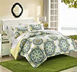 Purple and Gold Duvet Cover Chic Home Ibiza 3 Piece Duvet Cover Set Super Soft Reversible Microfiber Large Printed Medallion Design with Geometric Patterned Backing Zipper Closure Bedding with Decorative Shams, King Yellow