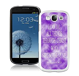 Cute Samsung Galaxy S3 Case Durable Soft Silicone TPU Colorful White Cell Phone Case Cover Philippians 413 Religious Bible Verse Inspirational Snap-On Black Jesus Christ