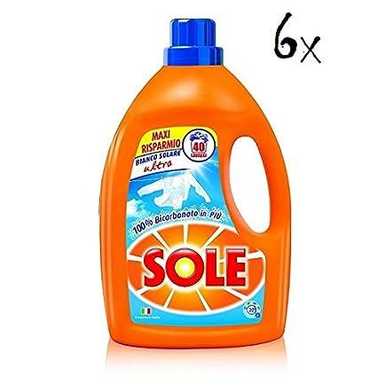 6 x Sole Bianco Solare con bicarbonat Detergente Líquido (30 lavados ropa