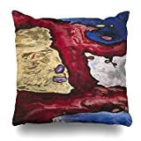 """Ahawoso Throw Pillow Cover Blue Tree Forms Water by Arthur Dove American Nobody Drawing Pastel On Plywood Worked Into Wood Home Decor Pillowcase Square Size 16""""x16"""" Decorative Cushion Case"""