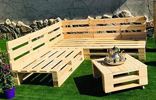 Conjunto RINCONERA Sofa PALETS 2m x 2m 1xMESA 80cm x 50cm Lijado Y Cepillado - Interior/Exterior - NUEVOS - 2m X 2m: Amazon.es: Hogar